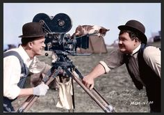 Laurel & Hardy 1928 - 'The Finishing Touch' with their cat on the camera…
