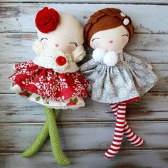 """A pair of charming Christmas Dolls❤❄ Both are ready-to-ship and ready to be packaged up and placed under the tree for Christmas! Go grab them now! Felt Fabric, Fabric Dolls, Best Baby Doll, Baby Dolls, Baby Sewing Projects, Handmade Toys, Handmade Rag Dolls, Sewing Dolls, Waldorf Dolls"