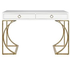 Worlds Away Vanessa White Two Drawer Desk, Brass Base ($2,090) ❤ liked on Polyvore featuring home, furniture, desks, white furniture, white desk and white home office desk