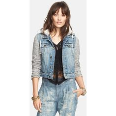 Free People Denim & Knit Jacket ($148) ❤ liked on Polyvore featuring outerwear, jackets, indie wash, free people, knit jacket, blue denim jacket, knit denim jacket and free people jacket