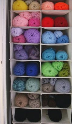 Hanging yarn storage in the closet