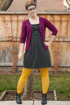 Gray J.Crew dress, plum cardigan, gold tights, black ankle boots, purple/yellow headscarf.