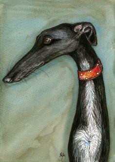 Dogs in Art at the StockBridge Gallery - Guilty by Elle Wilson, £75.00 (http://www.dogsinart.com/guilty-by-elle-wilson/)