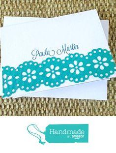 Aqua Border Note card Set from Mis Creaciones by Patricia Chalas http://www.amazon.com/dp/B01674P7V4/ref=hnd_sw_r_pi_dp_TJxowb0J95APC #handmadeatamazon