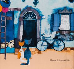 """""""Good Morning"""" par Rosina Wachtmeister Cityscape Art, Beautiful Paintings, Oeuvre D'art, Cat Art, Illustrations, Cats And Kittens, Good Morning, Cute Pictures, Cat Lovers"""