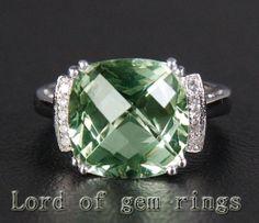 6.37ct Green VVS  Amethsy & Diamond  14K White Gold by EasyGem, $433.00