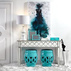 Shop this look at EB & Kris!  www.shopbebandkris.com Garden stools | mirror console | table | lamp