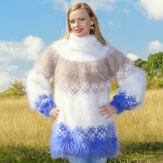 Stylish fuzzy mohair sweater with Nordic pattern, size S, M, L, XL