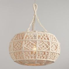 Ivory Macrame Sphere Pendant Lamp by World Market Antique Whitewash Wood Bead Chandelier Macrame Design, Macrame Art, Macrame Projects, Wood Bead Chandelier, Hanging Pendants, Pendant Lighting, Hanging Lamps, Pendant Lamps, Chandeliers