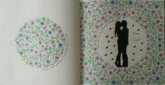 Décimo terceiro colorido. Folha dupla. Double page. Johanna Basford. Flores. Folhas. Casal. #jardimsecreto #folhas #flores #casal