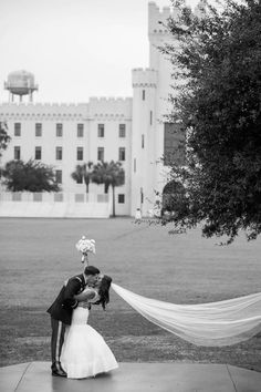 Bride and groom pose on the green, Citadel, Summerall Chapel, Charleston, South Carolina. Kate Timbers Photography. http://katetimbers.com #katetimbersphotography // Charleston Wedding Photography // Posing Photo Inspiration