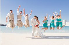 Cancun makes for a great destination wedding location: gorgeous beaches, tons to do, 5 star resorts & little price tag. Your guests will be jumping for joy Beach Wedding Photos, Wedding Pictures, Beach Weddings, Beach Pictures, Riviera Maya, Cancun Wedding, Destination Wedding, Tulum, Personalized Bridal Shower Gifts