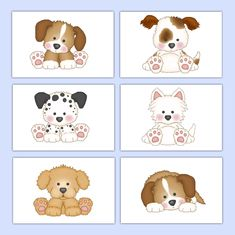 Puppy Wall Art Prints Baby Boy Girl Nursery Shower Gift Decor - Click Image to Close