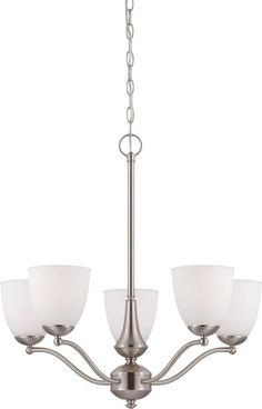 Nuvo Lighting 60/5055 Patton ES Five-Light Single-Tier Chandelier with Frosted G Brushed Nickel Indoor Lighting Chandeliers