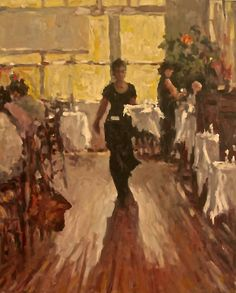 "A common scene of our world but approached with gusto and vitality in an impressionistic style catching that ""fleeting moment"" that will jolt memories. ""The Waitress"" by Abby Warman Fine Art from Florida is a 24x20 painting from the last NOAPS Online International Exhibit. #NOAPS #fineart"