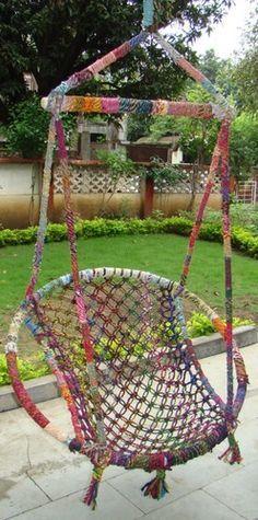 House Plant Maintenance Tips Recycled Cotton Swings Hammocks Crochet Hammock, Diy Hammock, Hammock Swing, Hammocks, Hammock Chair, Macrame Projects, Diy Projects, Home Crafts, Diy And Crafts