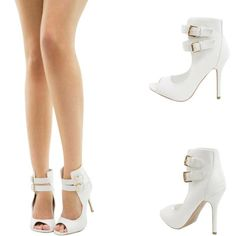 PURE WHITE PEEP OPEN TOE DOUBLE ANKLE STRAP CUFF STILETTO HEEL WOMEN PUMP SANDAL
