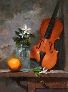 Orange Blossom Special by Kathy Tate Oil ~ 20 x 15 What is Art ? Violin Painting, Violin Art, Flowers In Vase Painting, Watercolor Flowers, Sunflower Art, Still Life Oil Painting, Still Life Art, Abstract Art, Abstract Paintings