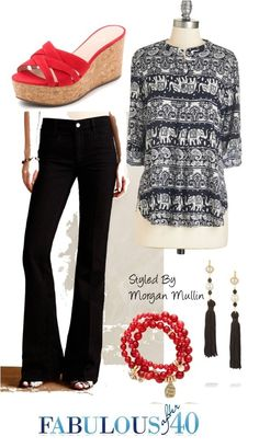 Flared jeans with a heel will give you a modern look. | Fabulous After 40