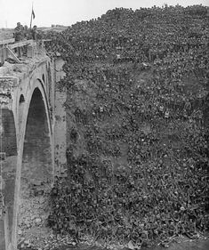 Allied Troops en masse are sat on a big hill next to Riqueval Bridge over the St Quentin Canal, 1918.