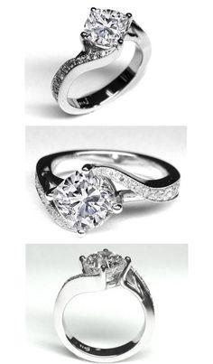 Cushion Diamond Swirl Engagement Ring  For more great Diamon Engagement Rings see: http://engagement-rings-specialists.com/Diamond-Engagement-Rings.html #Diamond #engagement #Rings