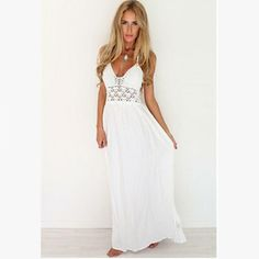 Bohemian Hollow Out Sleeveless White Sling Backless Dress new