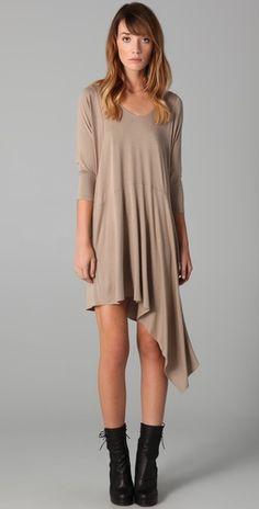 Mason by Michelle Mason: nude long sleeve dress with asymmetrical hem!