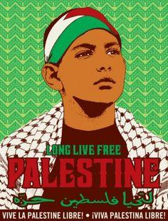 Long live free Palestine, une affiche de Jesus Barraza et Melanie Cervantes, réalisée en juillet 2014