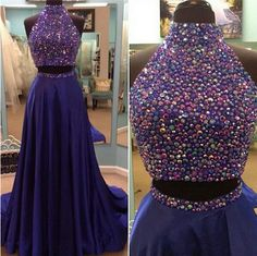 Two Piece Prom Dress.Beaded Graduation Dress,Sexy Two Piece Party Dress,Sparkle Party Dresses,Sexy Formal Dresses,Blush Prom Dresses,Blush Evening Dress 2016