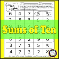 Primary Inspiration: Sums of 10 Freebie! Fourth Grade Math, Second Grade Math, Grade 2, Teaching Time, Teaching Math, Teaching Ideas, Guided Maths, Math Rotations, Math Centers