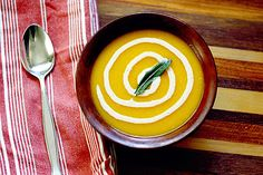 Roasted Butternut Squash and Apple Soup with Cinnamon Crème Fraîche