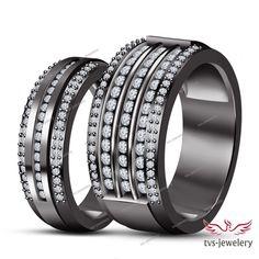 14k Full Black Gold Round Diamond His & Her Wedding Couple Band Ring Set 1.40 Ct #tvsjewelery #EngagementWeddingAnniversaryPromiseValentines