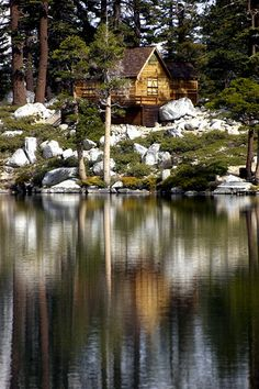 Log Cabin at Angora Lake by brenzulli, via Flickr.  Nice.  I like this one
