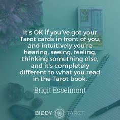 """""""it's OK if you've got your Tarot cards in front of you, and intuitively you're hearing, seeing, feeling, thinking something else, and it's completely different to what you read in the Tarot book."""" – Brigit on BTP67: How to Trust Your Intuition in a Tarot Reading. Click the link in bio to tune in!"""
