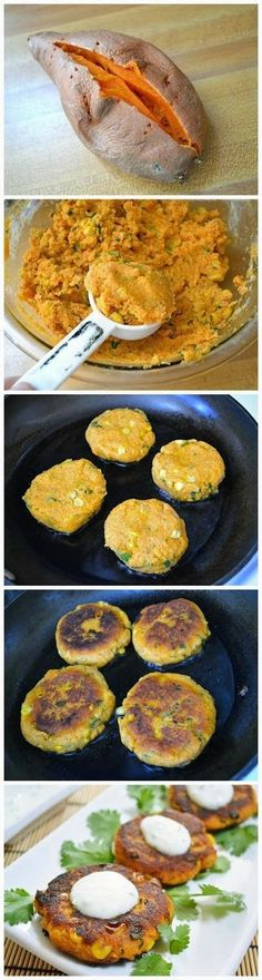 "Sweet Potato Corn Cakes with Garlic Dipping Sauce-Gonna make this happen. Flashbacks to ""Sugar Busters"" -fine tuned! Very sweet potato corn cake dish. Wishing there were a healthy place to eat out. Veggie Dishes, Veggie Recipes, Vegetarian Recipes, Cooking Recipes, Side Dishes, Potato Recipes, Healthy Snacks, Healthy Dinner Recipes, Healthy Eating"