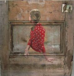 pretty oil painting on an old door, art by pete hawkins