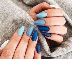 Coffin Nails Matte, Blue Acrylic Nails, Summer Acrylic Nails, Acrylic Nail Designs, Nail Art Designs, Nails Design, Acrylic Art, Blue Gel Nails, Nail Art Blue