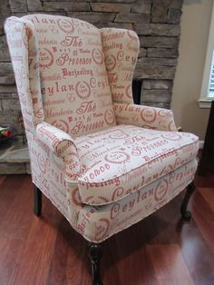 Drooling over this chair, It's perfect!  Wingback Chair  'Script' by Urbanmotifs on Etsy, $650.00