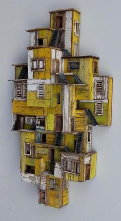 Eric Cremers – Shades of yellow – Eric Cremers – Shades of yellow – - Assemblage Art Sculptures Céramiques, Wood Sculpture, Karton Design, Cardboard City, Assemblage Art, Driftwood Art, Miniature Houses, Shades Of Yellow, Home Art