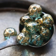GILDED WATER .. NEW 10 Premium Picasso Czech Rondelle Glass Beads 6x8-9mm (5527-10) by ArteBellaSurplus on Etsy