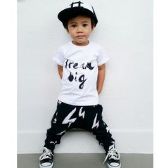 Dream big tshirt monochrome, bolt print pants baggy harem, black white, hashtag cap, black and white Trucker snap back kids cap monochrome cool style for kids - Handpainted POCOPATO www.pocopato.com