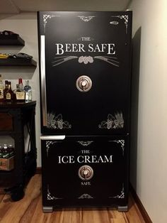 Beer Safe - Ice Cream Safe Refrigerator Wrap - ideas for your man cave at home or get away home. Man Cave Diy, Man Cave Home Bar, Rustic Man Cave, Mens Man Cave Ideas, Bedroom Ideas For Men Man Caves, Unique Man Cave Ideas, Man Cave Crafts, Man Cave Homes, Man Cave Room