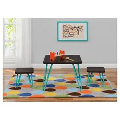 b17a23f174a3 Retro Kids Table and Stools Set Espresso Teal - Target ( 140) Table  Dimensions  18.7 H x 23.7 W Stool Dimensions  5.32 H