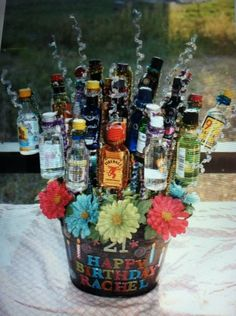 21st Birthday Bouquet, Birthday Gifts, Event Ideas, Party Ideas, Gift Ideas, Liquor Bouquet, Mini Liquor Bottles, Liquor Store, Silent Auction