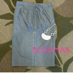 "Spotted while shopping on Poshmark: ""BCBGMAXARIA SILVER PENCIL SKIRT SHIMMER CUTE BACK""! #poshmark #fashion #shopping #style #BCBGMaxAzria #Dresses & Skirts"