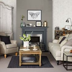 Grey and taupe living room  ~  Love the wall with the fireplace and wallpaper ... I could do this in my own living room (want to create a fake fireplace/mantle thing)