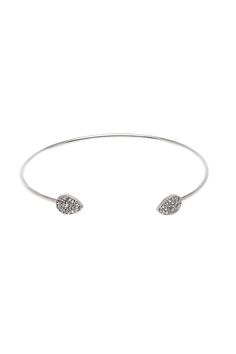 Silver open bangle with crystal teardrop accents at the opening. This piece will look great layered with other bracelets or even your favorite silver watch.  Silver Teardrop Bangle by K&K Interiors. Accessories - Jewelry - Bracelets Alabama
