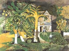 """""""The Orchard"""" by Keith Vaughan, 1944 (gouache, crayon, pen & ink on paper)"""