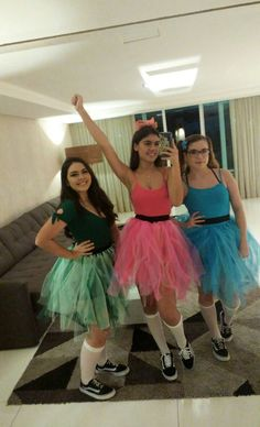 Meninas super poderosas Three Person Halloween Costumes, Powerpuff Girls Halloween Costume, Cute Group Halloween Costumes, Halloween Outfits, 3 Person Costume, Halloween Couples, Family Costumes, Group Costumes, Family Halloween