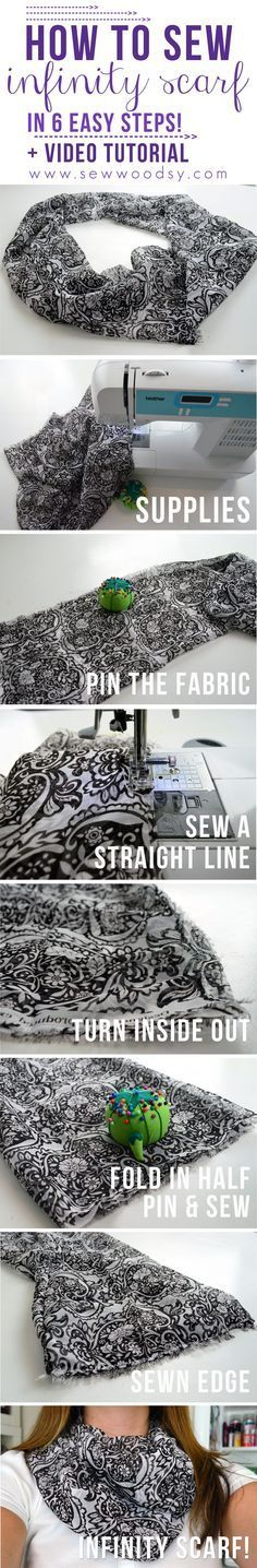 Click this photo to learn how to sew an infinity scarf in just a few simple steps! http://SewWoodsy.com #sewing #crafts #diy
